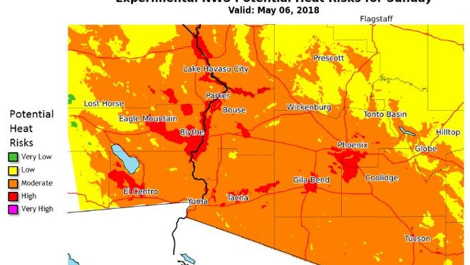 Forecast heat risk for south central Arizona and southeast California from the National Weather Service in Phoenix