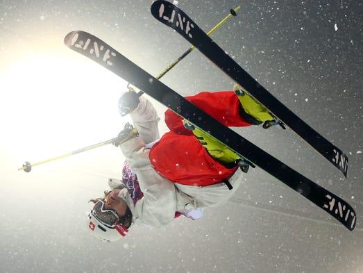 Nils Lauper (SUI) competes in men's ski halfpipe qualification.