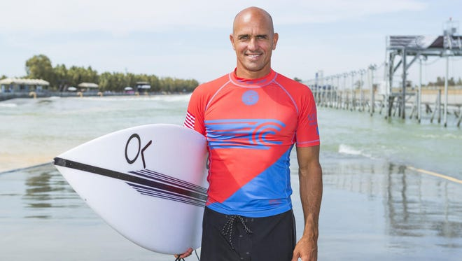 Kelly Slater at his wave pool in Lemmore, Calif., where a World Surf League event takes place later this year.
