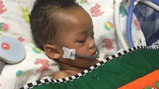 This May 12, 2016, photo provided by Alexandra Snyder shows 2-year-old Israel Stinson at Kaiser Permanente Roseville Medical Center in Roseville, Calif.