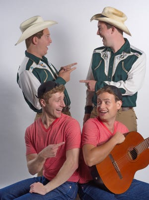 """Clockwise from top, Taylor Kelly, Sawyer Wallace, Erik Schiller and Will Miranne. Nashville Shakespeare Festival will present """"The Comedy of Errors"""" from Aug. 20 through Sept. 18 at The Bandshell at Centennial Park."""