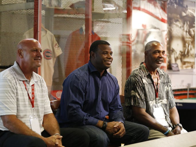 Former Cincinnati Reds greats Ron Oester and Ken Griffey Jr. and Dave Parker all 2014 Cincinnati Reds Hall of Fame Inductees sit for a meet and greet at the Reds Hall of Fame at Great American Ball Park.