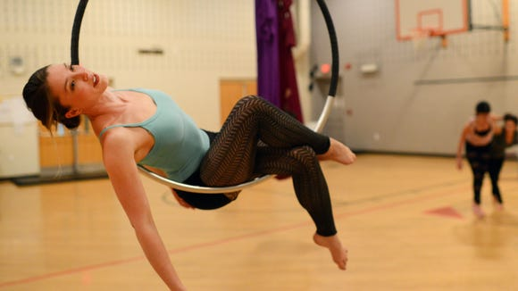 Anna Bartlett warms up before a rehearsal in 2012 for The Bromelia Aerial Dance Collective