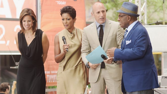 """(L-R) Co-hosts Jenna Wolfe, Tamron Hall, Matt Lauer and Al Roker appear on NBC's """"Today"""" at the NBC's TODAY Show on August 22, 2014 in New York City."""