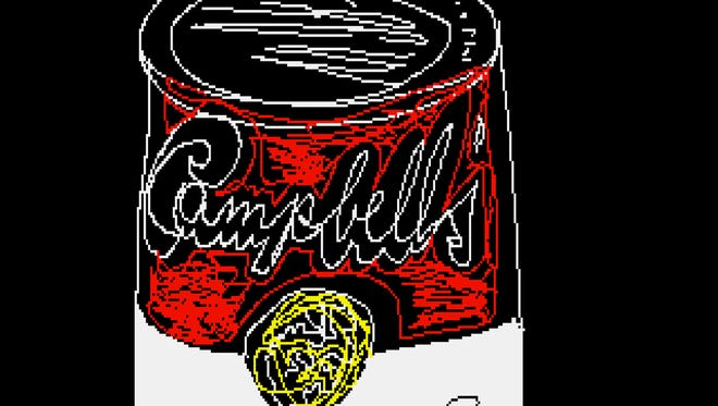 """This undated image provided by The Andy Warhol Museum in Pittsburgh, Pa., shows """"Campbell's,"""" a piece that is thought to be made by the late pop artist, Andy Warhol, on a computer in 1985. The museum says that the artist had a contract with Commodore International to produce images on one of its Amiga home computers. The old images recently were extracted from disks by members of Pittsburgh's Carnegie Mellon University Computer Club in collaboration with museum staff."""