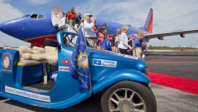 Passengers on Southwest Airlines' inaugural non-stop flight from New Orleans are welcomed to Key West on March 9, 2013.