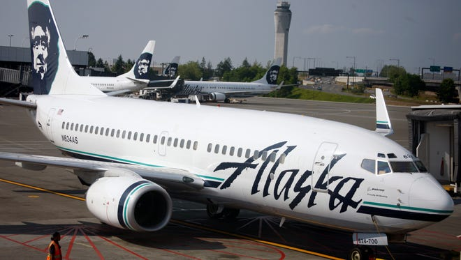Alaska Airlines jets are seen at Seattle-Tacoma International Airport on June 11, 2009.