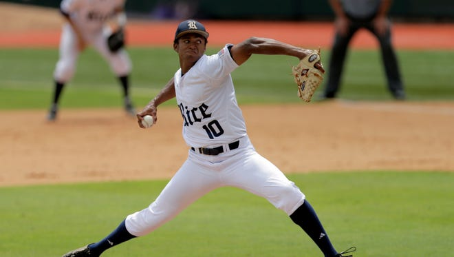 Rice's Dane Myers pitches against Southeastern Louisiana during an NCAA regional June 5, 2016.