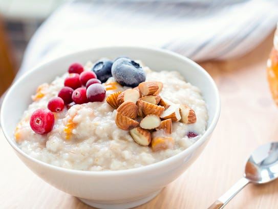 Oatmeal can be heated to order and topped with fruit