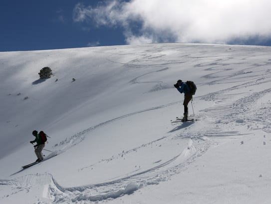 Ben Spillman heads downhill while skiing in the Toiyabe