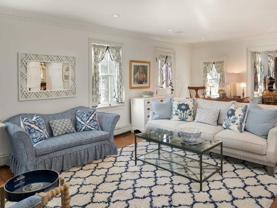 The family room features updated recessed lighting decorative crown molding.