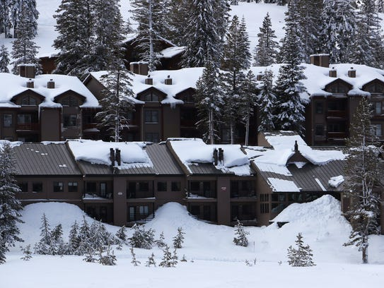 Snow laden rooftops are seen on lodging at Kirkwood