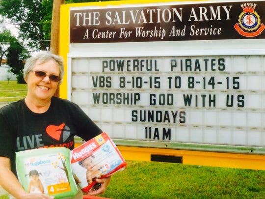 Donna Barto of Horseheads delivered diapers to the Salvation Army after a collection campaign by Our Saviour's Lutheran Church in Horseheads.