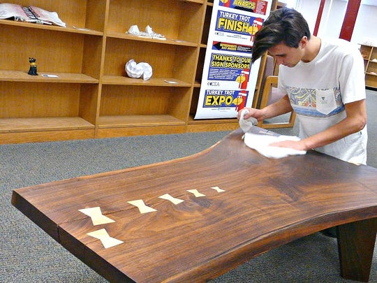 This coffee table was made by Justin Fiaschetti and displayed last winter at the Del Val District Art & Music Festival at Delaware Valley High School.