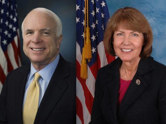 Neither incumbent U.S. Sen. John McCain, R-Ariz., nor Democratic U.S. Senate challenger U.S. Rep. Ann Kirkpatrick, D-Ariz., attended their parties' 2016 national conventions.