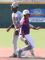 Eastlake's Alex Pinedo makes it safely to second base during a high school game played at El Paso Community College.