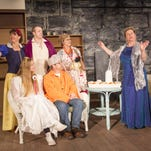 """Dressed for the neighborhood costume party in Hamilton-Gibson Productions' """"Vanya and Sonia and Masha and Spike"""" are, seated from left, Nina (Sophie Smith) and Vanya (Thomas Putnam); standing from left, Masha (Lilace Guignard), Spike (Elliot Worthington), Cassandra (Jeanne Ziemack) and Sonia (Mary Ginn)."""