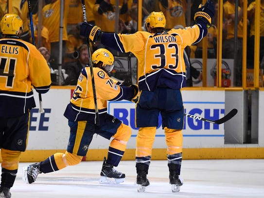 Nashville Predators defenseman P.K. Subban (76) celebrates