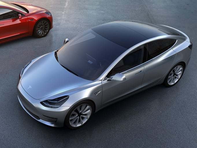 The Tesla Model 3, an all-electric smaller sedan than
