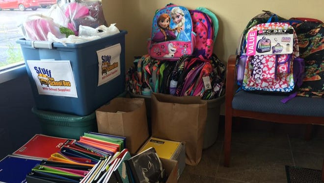Donations for the United Way of Inner Wisconsin's Stuff the School Bus school supply drive at the Daily Tribune office. Community members can drop off school supplies at the Daily Tribune office through Wednesday.
