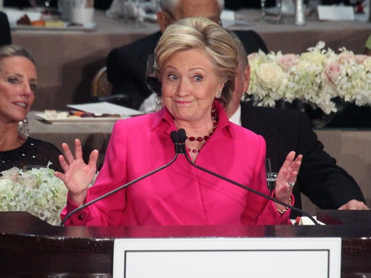 Hillary Clinton speaks at the Alfred E. Smith Memorial Foundation Dinner at the Waldorf Astoria in New York City Oct. 20, 2016.