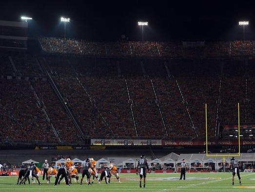 Tennessee quarterback Joshua Dobbs (11) calls plays