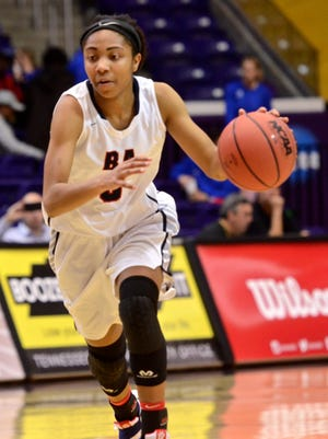 Brentwood Academy's Sydni Harvey looks to drive during Thursday's Division II-AA semifinal at Lipscomb's Allen Arena.