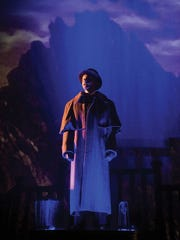 """Brendan Marshall-Rashid plays Harker in the Utah Shakespeare Festival's 2015 production of """"Dracula,"""" which uses projections behind the stage to whisk theatergoers away to Transylvania."""