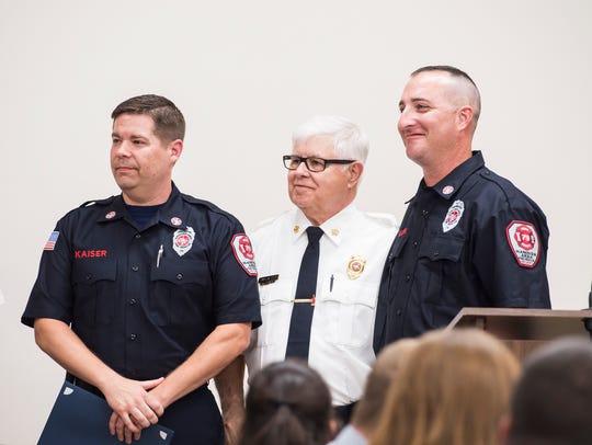 Firefighters Steven Kaiser, left, and firefighter Anthony