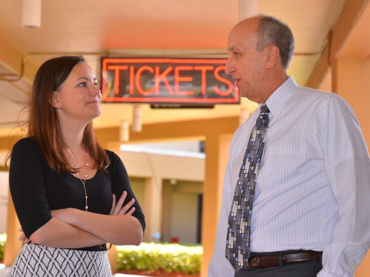 Executive director Steve Janicki and marketing director Autumn Shrum talk outside the KIng Center box office.