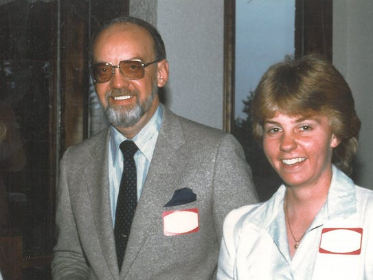 Karen Weekly and her dad, Chuck Kvale, at a reception