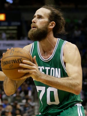 Boston Celtics forward Luigi Datome looks to shoot against the Milwaukee Bucks on April 15, 2015, in Milwaukee.