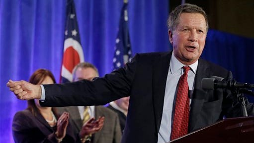 This Nov. 4 file photo shows Ohio Gov. John Kasich speaking to supporters at the Ohio Republican Party celebration in Columbus, Ohio. Kasich is one of several Republican governors from the Midwest whose policies could wind up in the national campaign picture for the 2016 presidential race.