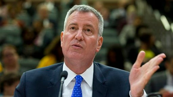 New York City Mayor Bill de Blasio testifies during a state Senate Education Committee hearing on extending mayoral control of city schools on Wednesday, May 4, 2016, in Albany, N.Y.