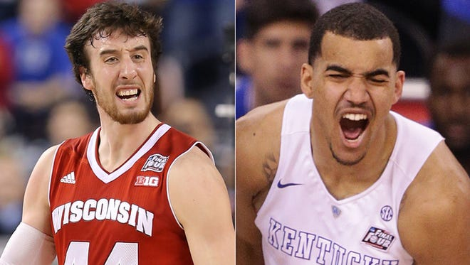 Frank Kaminsky of Wisconsin (left) and Trey Lyles of Kentucky could be available  for the  Indiana Pacers in the NBA draft.