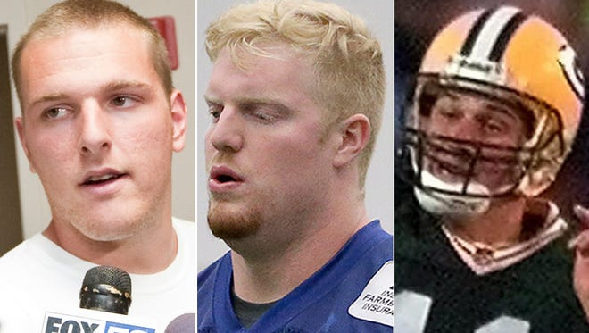 Indianapolis Colts Pat McAfee (left) and Jack Mewhort shortly after being drafted, and Matt Hasselbeck (right) early in his career with the Green Bay Packers.
