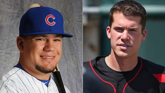 Kyle Schwarber (left), from IU, is moving quickly through the Cubs organization. Alex Meyer of Greensburg is in a bit of rut  in the Twins' organization.