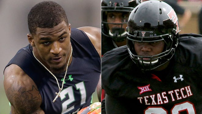 The Colts' second and third round picks: safety T.J. Green (left) and offensive tackle Le'Raven Clark.