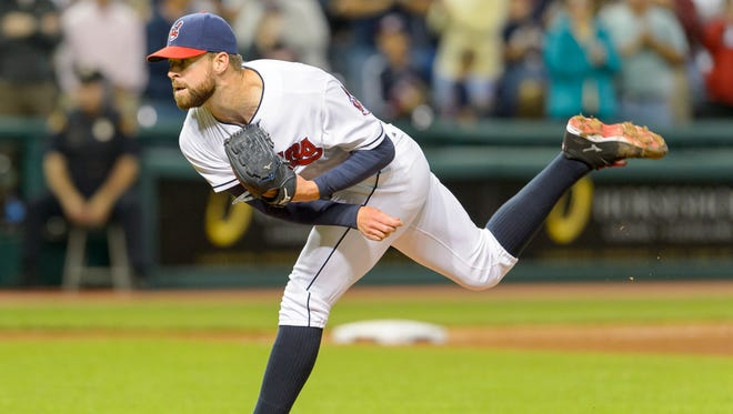 Corey Kluber pitches during the ninth inning against the Seattle Mariners at Progressive Field in Cleveland, Ohio.