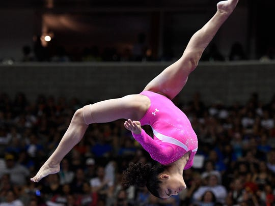 Jul 10, 2016; San Jose, CA, USA; Laurie Hernandez, from Old Bridge, NJ, during the balance beam in the women's gymnastics U.S. Olympic team trials at SAP Center. Mandatory Credit: Robert Hanashiro-USA TODAY Sports