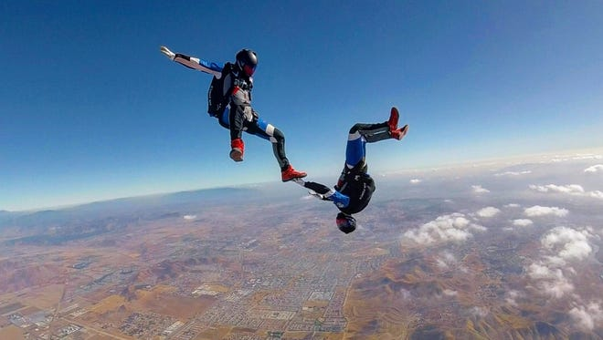 Watkins Memorial graduate Connor Severino and fellow Air Force Academy senior Zachary Wolf recently won a national championship in mixed formation skydiving. The photo was taken by coach Chad Henderson's GoPro.