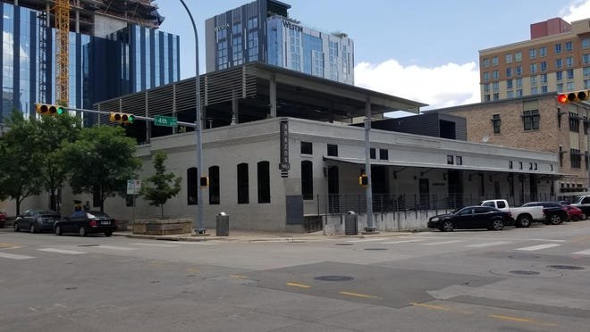A high-rise with apartment units and office space is planned for the half-block at the northeast corner of East Fourth and Brazos streets in downtown Austin.