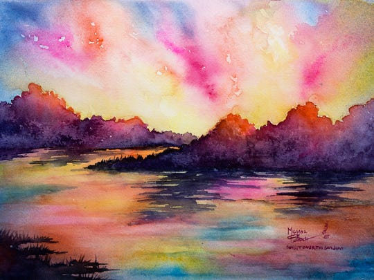 """""""Sunset Over the San Juan"""" is on display at San Juan College as part of Michael Bulloch's """"I Dream in Color"""" exhibition."""