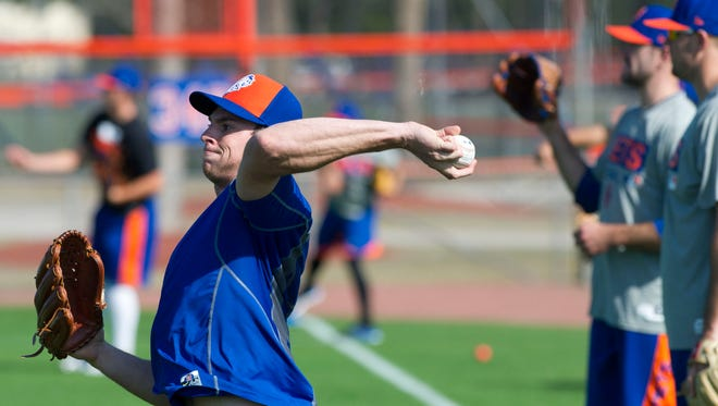 New York Mets pitcher Steven Matz warms up during the first day of practice Monday at Tradition Field in Port St. Lucie. Matz finished the 2016 season with a 3.40 ERA and 129 strikeouts. To see video and more photos, go to TCPalm.com.