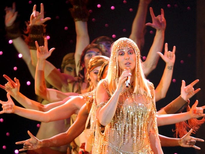 Cher performs during her concert in the Hallenstadion venue in Zurich, Switzerland, as part of The Farewell Tour, on Saturday, May 29, 2004.