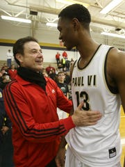 U of L head coach Rick Pitino, left, greeted signee