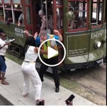 New Orleans streetcar driver shows off his dance skills