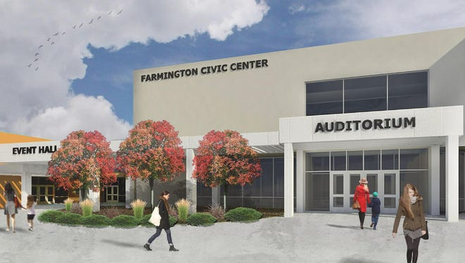 An architectural rendering shows the proposed redesign of the entrance to the Farmington Civic Center.