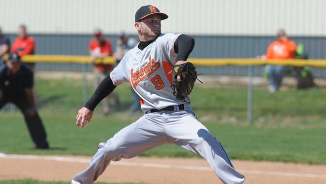 Ridgewood's Caleb Tingle delivers a pitch in the second inning of a 5-1 district finals win over West Muskingum on Saturday at River View High School in Warsaw.