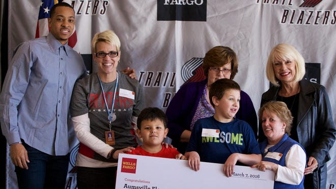 Aumsville Elementary School is one of 20 schools statewide to receive a grant from the Portland Trailblazers Foundation and Wells Fargo as part of their ?Take It To The Court for Education? program, which supports sports and activities.